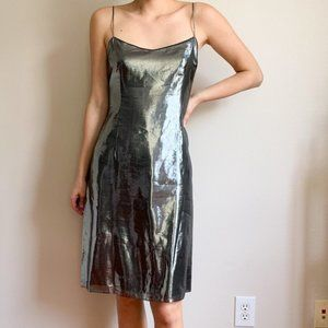 Teri Jon by Rickie Freeman Metallic Slip Dress